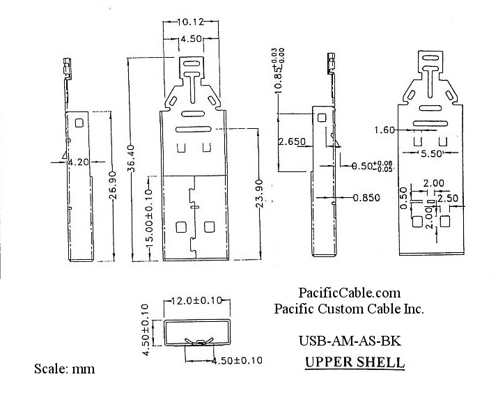 Usb Am As Bk Usb Type A Male Solder Connector